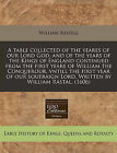 A Table Collected of the Yeares of Our Lord God, and of the Years of the Kings of England Continued from the First Yeare of William the Conquerour, Vntill the First Year of Our Soueraign Lord. Written by William Rastal. (1606) by William Rastell (Paperback / softback, 2010)