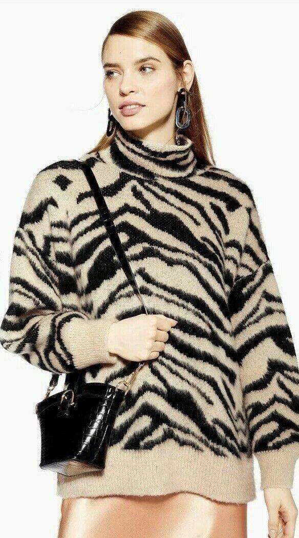 hautshop Moving Zebra Print Entonnoir Pull Bnwt sold out Blogger AVF Taille XS