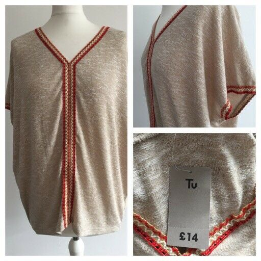 Tu Ladies Short Sleeve Jumper / Baggy Top. Cream. 'urban Cowgirl' Size 10 Bnwt