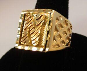 SIZE 8 MENS 14KT GOLD EP  DOLLAR SIGN $ BLING HIP HOP  DESIGNER RING