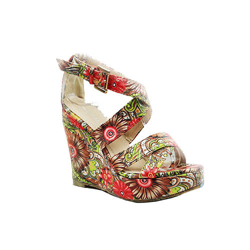 eb97bc670527 Womens Ladies Platform Floral Wedge Heel Ankle Strap Shoes Sandals Size 3-8  UK 6 Brown-red (floral)
