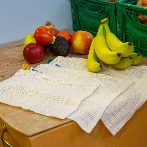 Baumwolle Bio 4 Größen und Gemüsebeutel Baluum 4er Set Obst wiederverwendbar