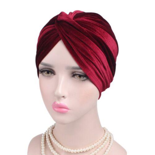 Damen Samt Yoga Turban Beanie Kopftuch Kopfbedeckung Haarband Kappe Hut Gut