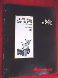 Details About Simplicity Snowthrower Sno Way 860 860s 860se Parts Manual