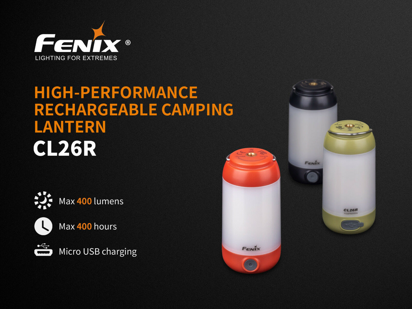 Fenix CL26R LED Camping Light with USB Port Battery 400 LM in rot and Grün
