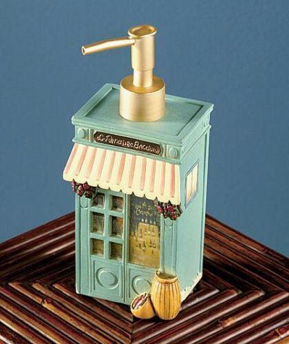 French Café De Paris Bathroom Shower Curtain Rug Toothbrush Holder Soap Pump