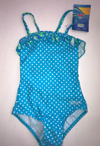Zoggs Girls Fishfun Swimming Costume Blue Polka Frills Age 18-24 2-3 3-4 RRP £14