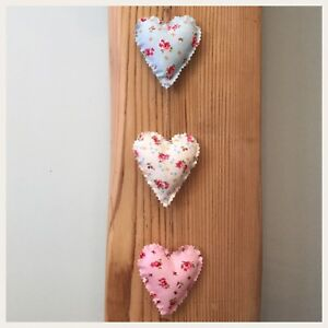 Astounding Details About Handmade Fabric Set Of Three Vertical Shabby Chic Hanging Hearts Home Interior And Landscaping Ponolsignezvosmurscom