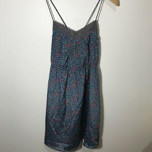 American Eagle Outfitters Womens Dress Floral Pattern Blue