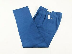 NWT-Vintage-Brooks-Brothers-Mens-100-Linen-Pants-Trousers-USA-Made-Blue-Sz-36W