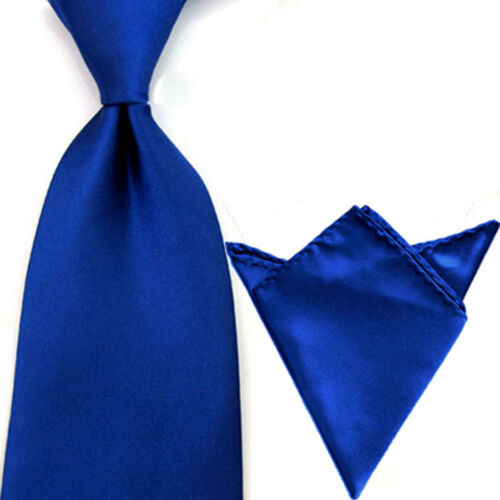Hommes Satin Large Solide Couleur Cravate Mouchoir Set Cravate Mouchoir De Poche Lot