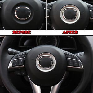 Carbon Fiber Style Inner Steering Wheel Cover Trim For Mazda CX-5 CX5 2016-2018