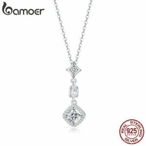 BAMOER-Women-Necklace-S925-Sterling-Silver-AAA-Zircon-039-s-love-Pendant-Hot-Jewelry