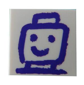 Lego-Fliese-2x2-weiss-mit-Aufdruck-Gesicht-gemalt-dunkel-lila-3068bpb1208-Neu