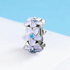 Purple-Violet-Flower-CZ-Beads-Pendant-Charm-For-925-Silver-Bracelet-Chain-Gifts