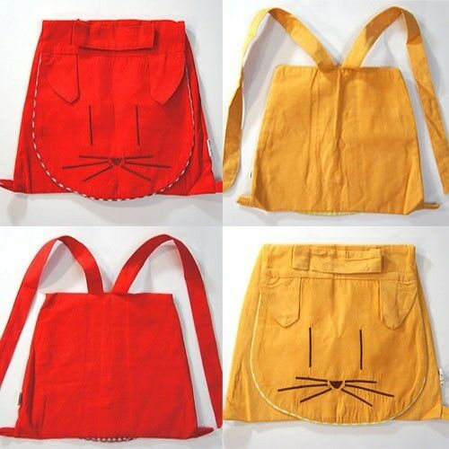 Back to School Unisex Boy//Girl Kitty Cat Faced Soft Red or Yellow Child Backpack