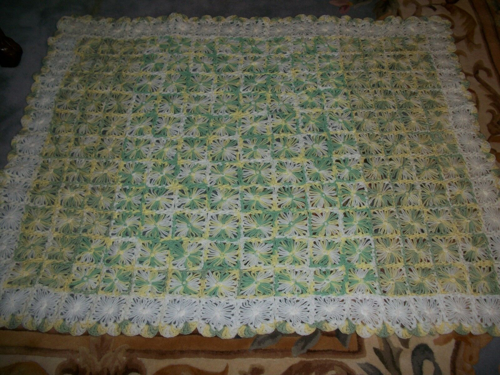 STUNNING HAND CROCHET BABY BLANKET AFGHAN  SIZE 38  x 50  INCHES L@@K