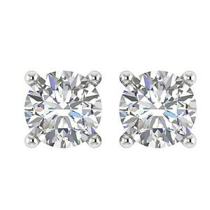 Solitaire-Stud-Earrings-White-Gold-Natural-Round-Cut-Diamond-SI1-G-0-75-Carat