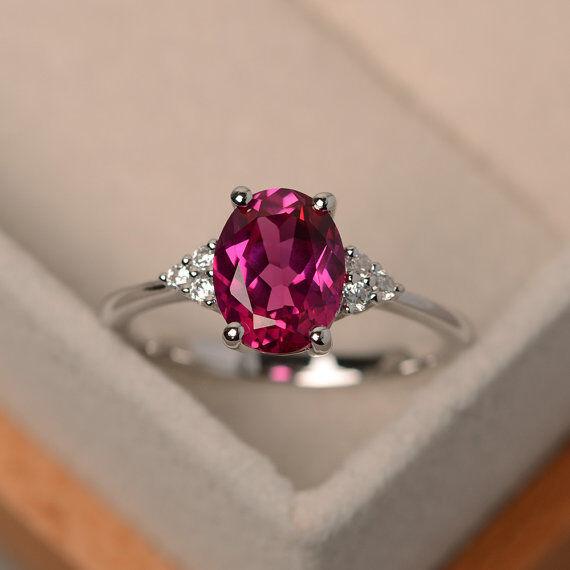 14K White gold Real Diamond Ring 2.15 Ct Natural Ruby Wedding Ring Size 5 6 7 8