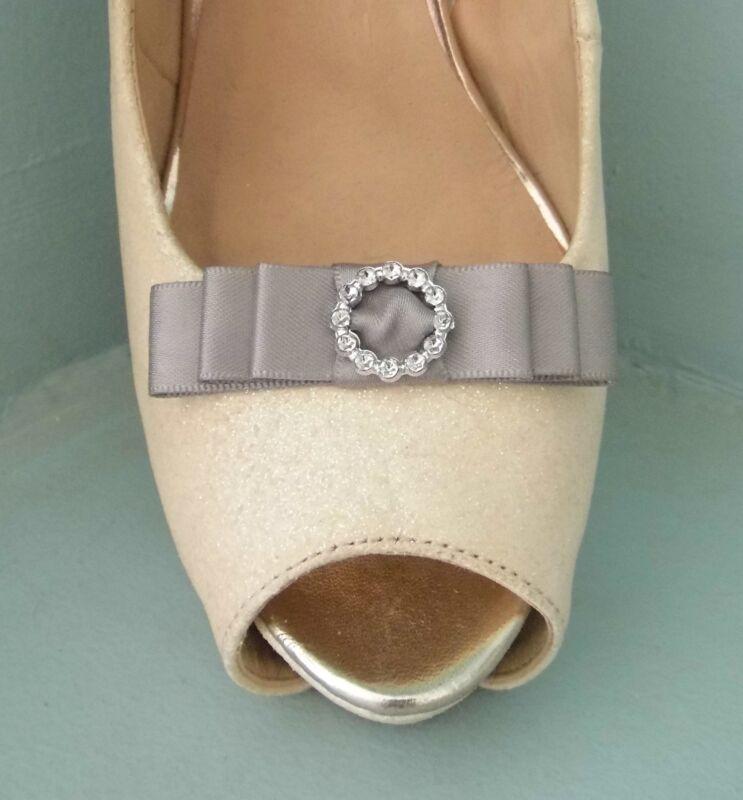 2 Clips De Arco De Satén Gris Pequeño Para Zapatos Con Hebilla De Estilo Diamante Centro