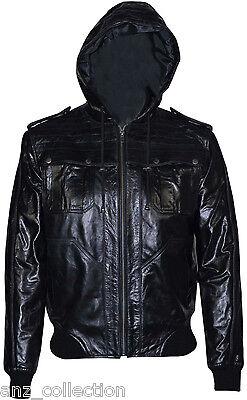 Zen Black Glaze Men Bomber Hood Slim fit Stylish Hip hop Italian Leather Jacket