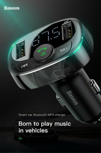 Original Baseus Doble USB Cargador de coche con manos libres de teléfono y reproductor de música MP3