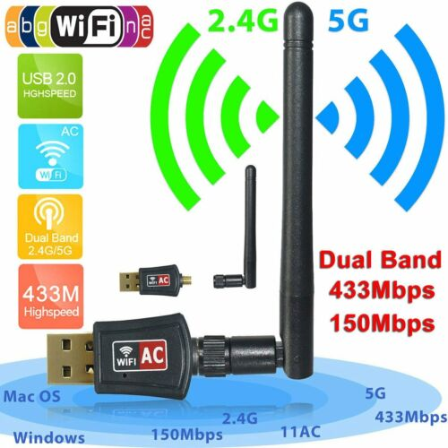 600Mbps Dual Band 2.4GHz 5GHz WiFi Adapter USB Wireless 802.11ac//a//b//g//n Dongle