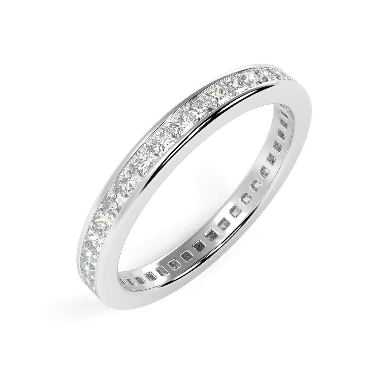 86849d703 1.00 Princess Diamond Channel Set Full Eternity Ring, 18K White gold Ct  Natural nriujq3235-Diamond