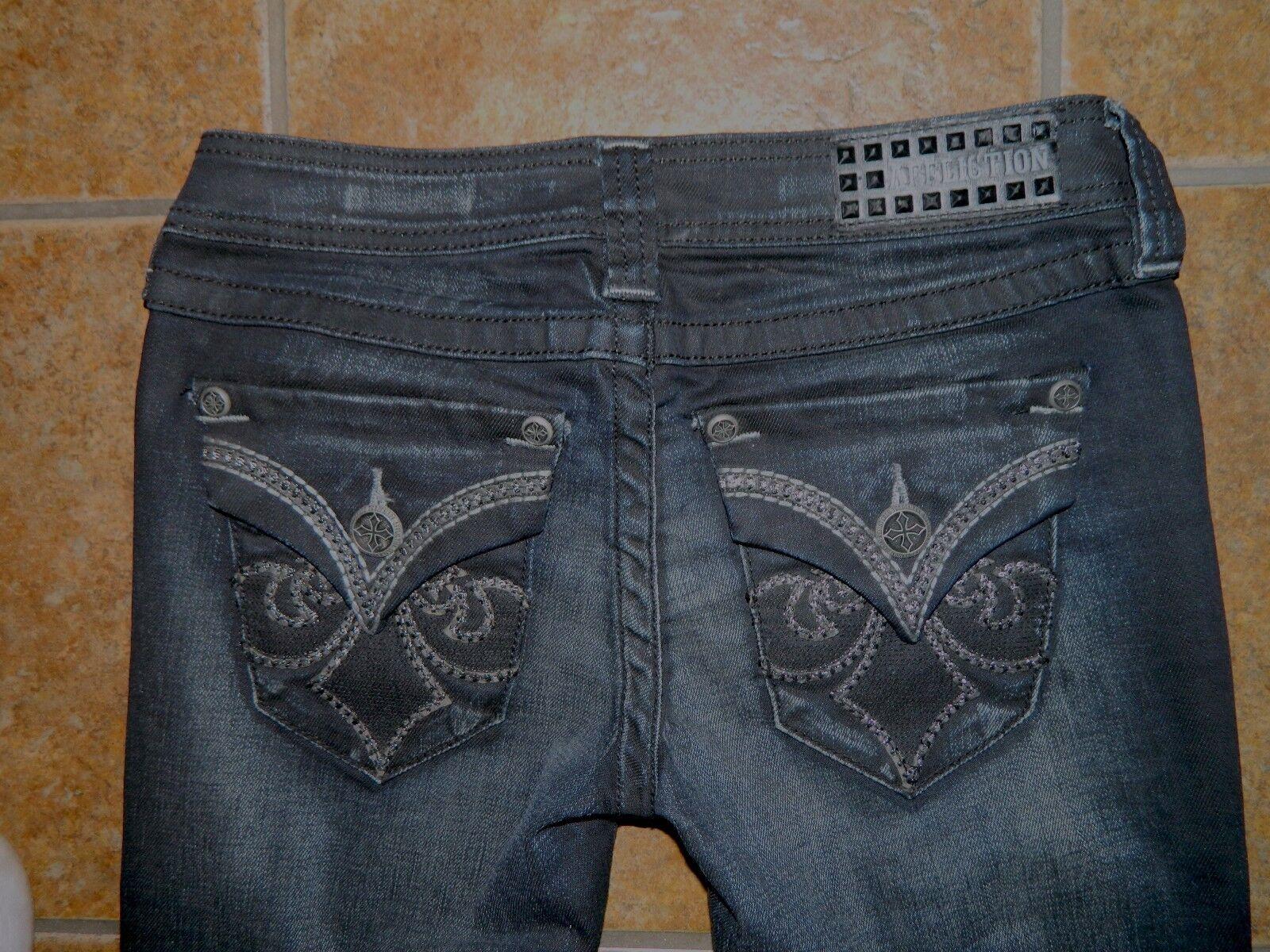 NWT Blk Affliction Fleur De Lis Boot Cut Metallic Embroidered Jeans Sz 26 MSRP