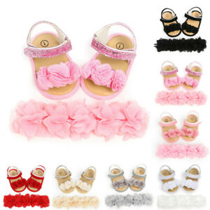 Newborn Baby Girls Boys Hairband + Flower Sequins Sandals First Walkers Shoes