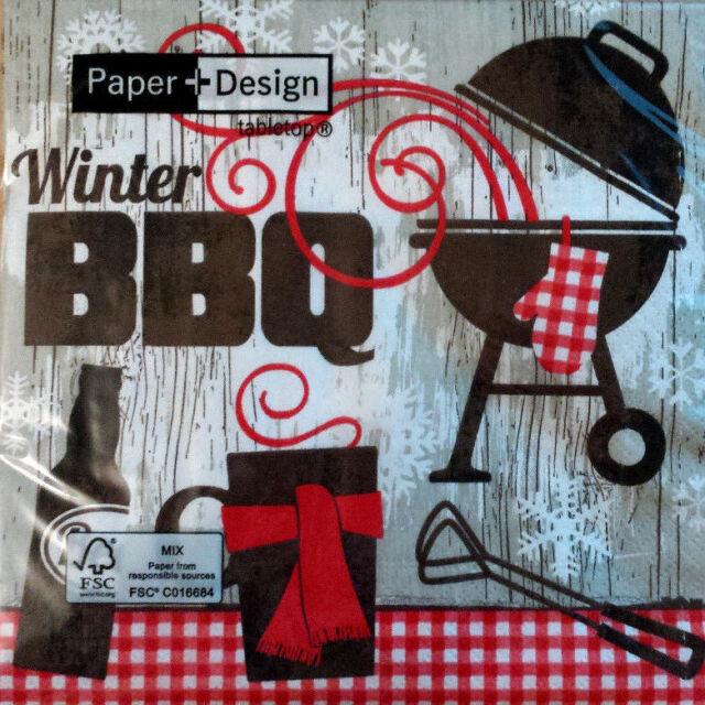 Servietten Winter BBQ  rot  grau    20 Stk  33x33 cm  Neu