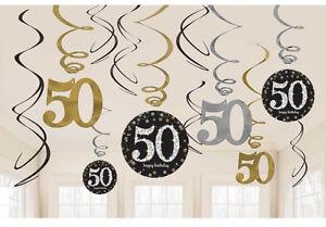Image Is Loading 12 X 50th Birthday Hanging Swirls Black Silver