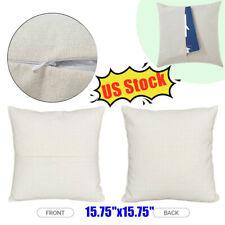 10pcs Linen Sublimation Blanks Pillow Case Front Pocket Cushion Cover Home Decor