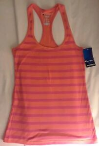acc01c1c5c2 Details about NWT Champion Authentic Womens Racerback Striped Orange/Pink  Tank Top Active Wear