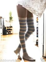 Free People Gray Blue Hideaway Striped Over The Knee Thigh High Socks O/s