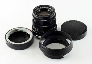 Leica-M-Lens-Summicron-2-50mm-2534872-feet-amp-meters-with-lens-covers-shade