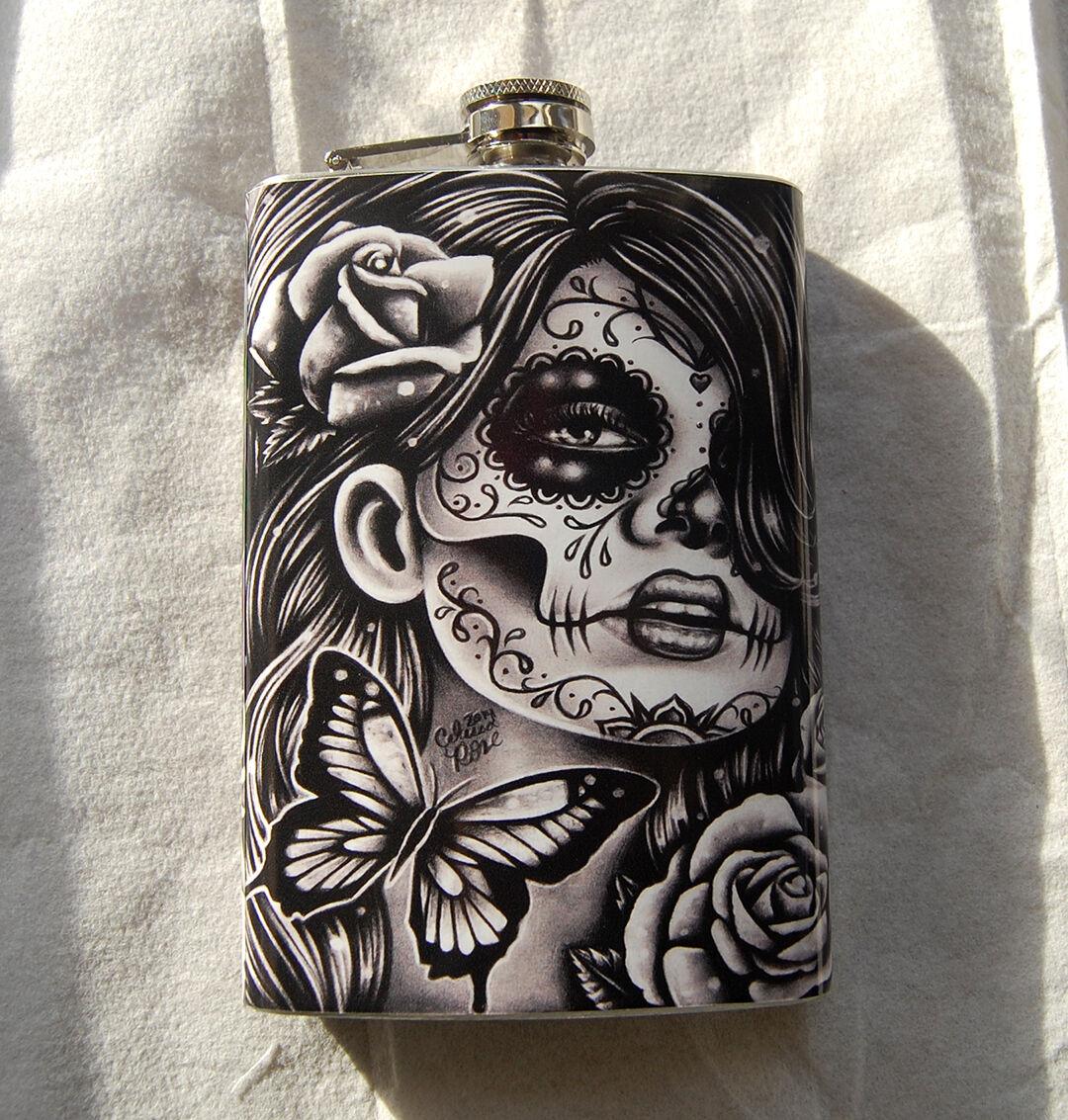 Calavera Tattoo Flash pretty sugar skull tattoo roses calavera rockabilly stainless steel 8oz  flask