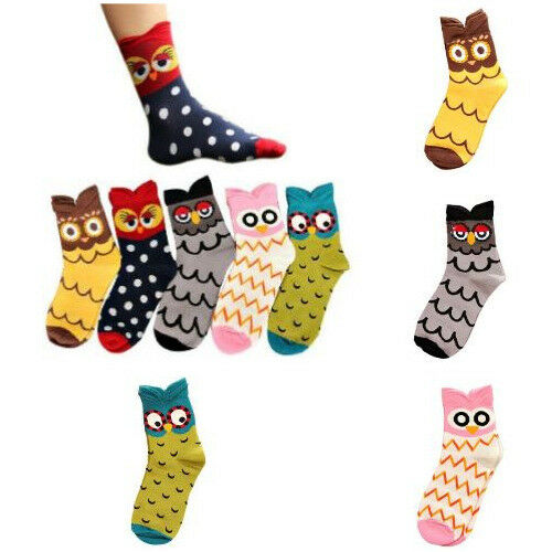 Socks For Women Girls Cute Fashionable Cotton Lovely Unique Cartoon Owl Design