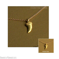 Dogeared Take Chances Necklace Gold Dip Horn 14k Gold Filled 16 Chain & Pouch