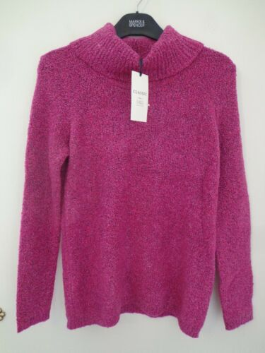 BNWT LADIES M/&S CLASSIC RANGE LONG SLEEVED FUCHSIA COLOURED JUMPER SIZE 22 £35