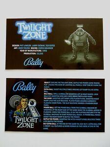 * * 'TWILIGHT ZONE' Bally 1993 Custom Instruction/Apron Cards * * (New)