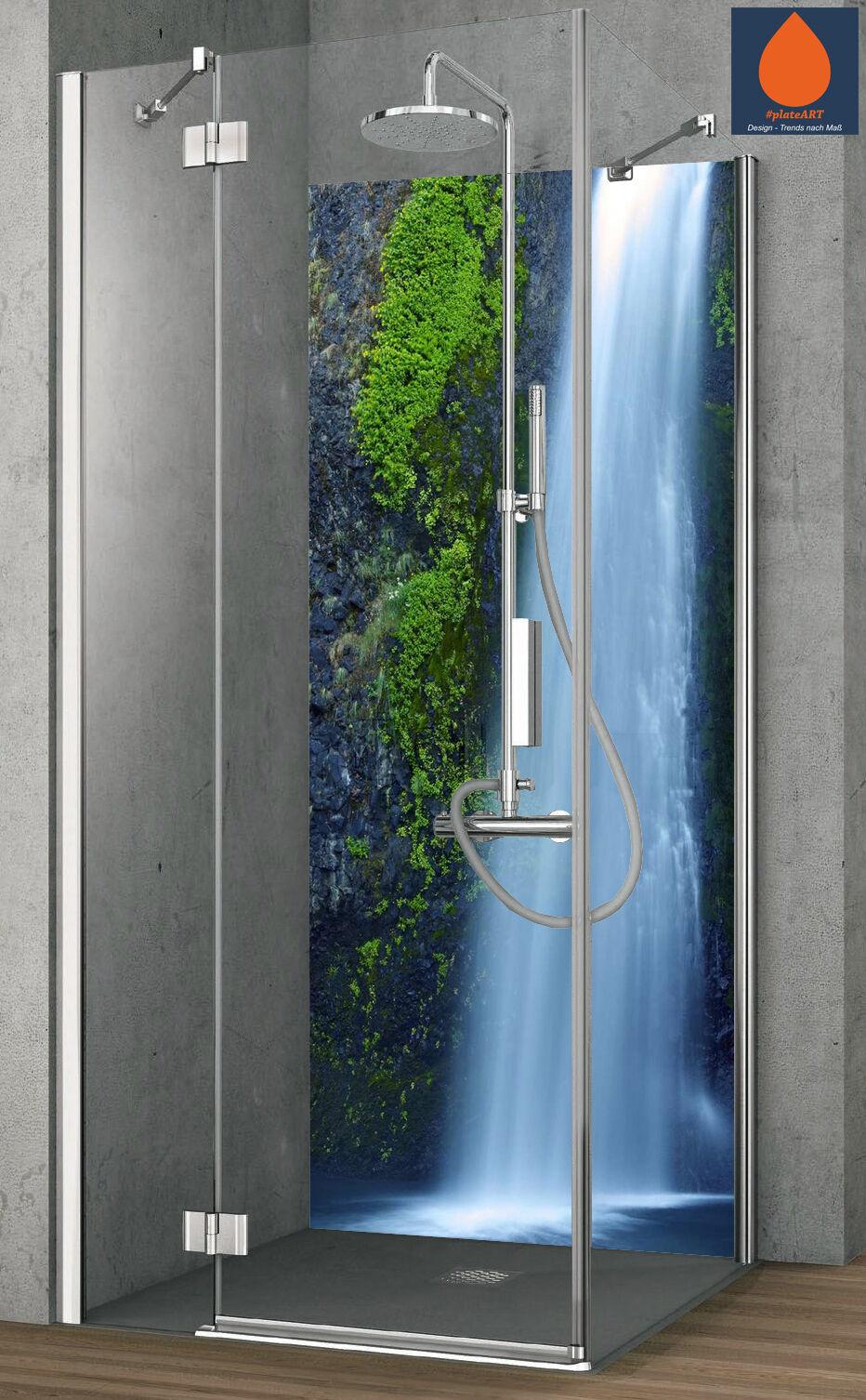 Eck Duschrückwand Rückwand Dusche Alu Fliesenersatz Wasserfall Wasserfall Wasserfall Felswand dunkel 1c07e2