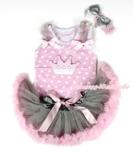 Light Pink White Dot Top Pink Crown Gray Pink Newborn Baby Girl Pettiskirt 3-12M
