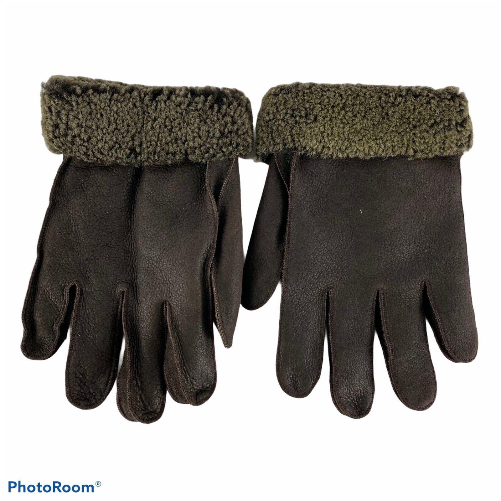 Aston Men's XL Gloves 100% Sherling Suede Brown Excellent Condition Unique