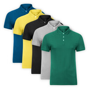 Mens-Classic-Cotton-Polo-Shirt-Short-Sleeve-Button-Casual-Collared-Top-T-Shirt
