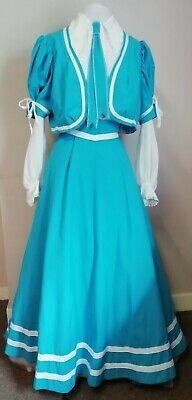 """Accurato Blue Periodo Edoardiano Stile Costume Da 2 Pezzi Con Busto Del Treno. 44""""-mostra Il Titolo Originale"""