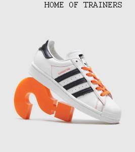 Adidas-Originales-Superstar-Blanco-Naranja-Negro-Para-hombre-Zapatillas-Todos-Los-Tamanos