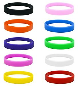 Silicone-Wristbands-x-10-Adult-Size-bands-Rubber-like-Latex-Free-choose-colours