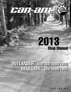 2013 Canam Renegade Outlander 500 650 800 800r 1000 Max Service Repair Manual Cd Ebay