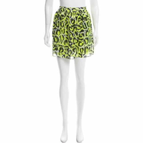 Gryphon 100% Silk Green Leopard Print Pocket Skirt